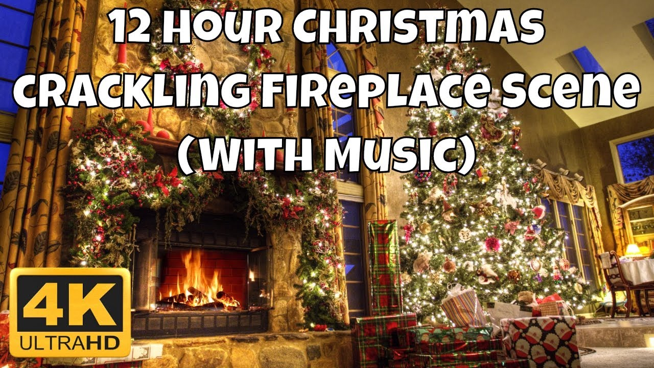 4K Crackling Christmas Fireplace Screensaver - 12 Hours - With Music