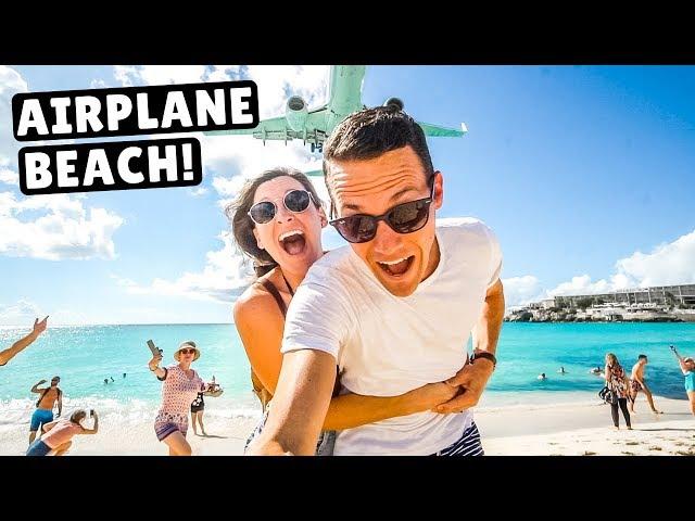 AIRPLANE BEACH | Jet Blast & Low Landings at Maho Beach, St. Martin