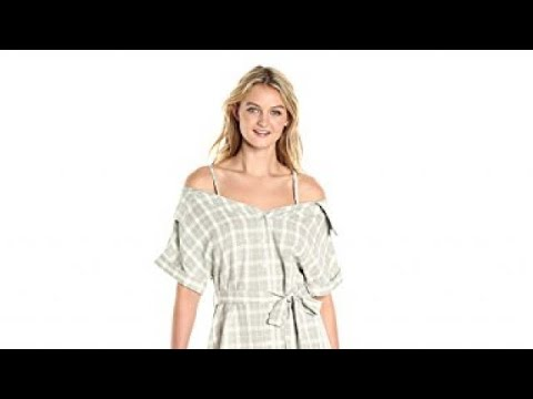 MINKPINK Women's Gingham Print Off Shoulder Shirt Dress