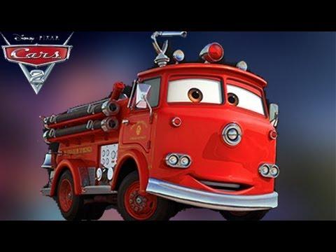 Disney Cars 2 Die Cast Red Fire Engine Truck Deluxe Mattel Pixar
