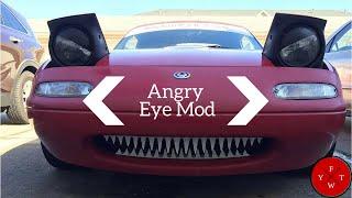 DIY Cheap Angry Eye Mod 1990-1997 Mazda Miata Mx-5 (pop-up/flippy lights)