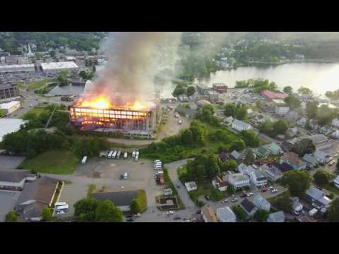 Drone view of Sanford Mills burning