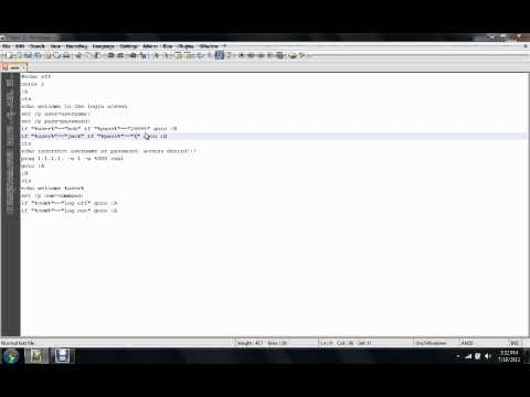 how to make a batch file login/out program