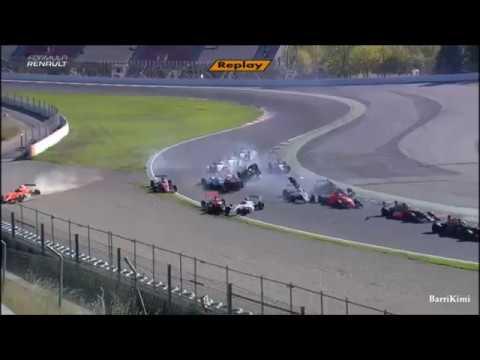 Formula Renault Eurocup 2.0 Barcelona 2017 Race 2 Huge Pile Up