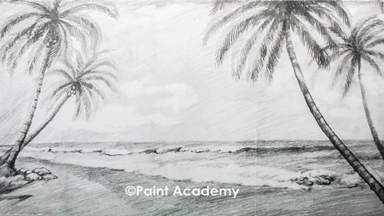 How To Draw A Beach Landscape With Pencil