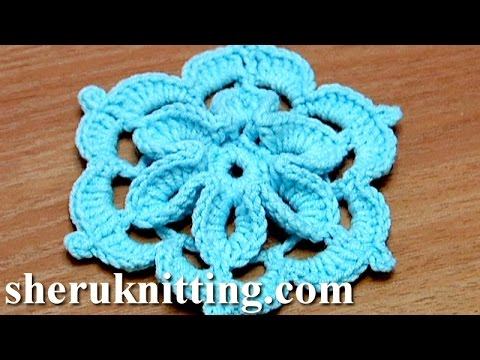 How To Crochet Flowers Thick Petals Tutorial 44 : Crochet Flower With 3D Center How to Tutorial 29 Come ...