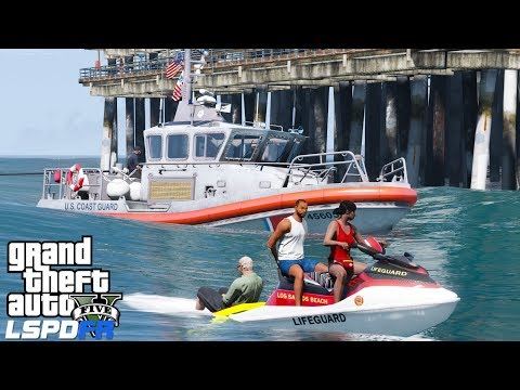 GTA 5 LSPDFR Coastal Callouts Baywatch Edition | Life Guard Jet Ski Rescues Guys Stranded In The Sea