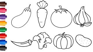 How to Draw Vegetables Easy - Drawing and Coloring 8 Vegetables for Kids