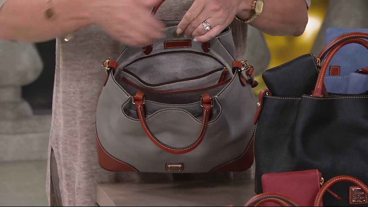 0c0861df5080ce Dooney & Bourke Pebble Leather Brenna Satchel with Accessories on QVC