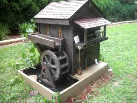 Hand Made Grist Mill With Working Water Wheel