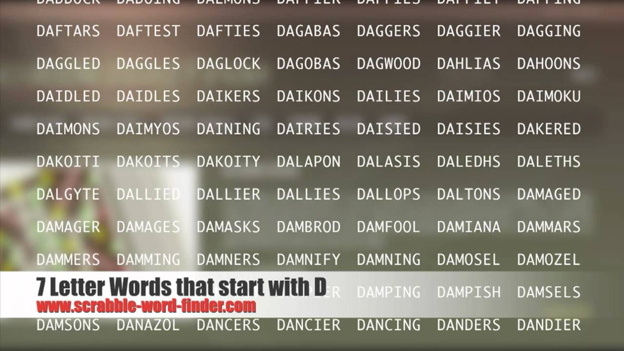 7 letter words that start with D   YouTube