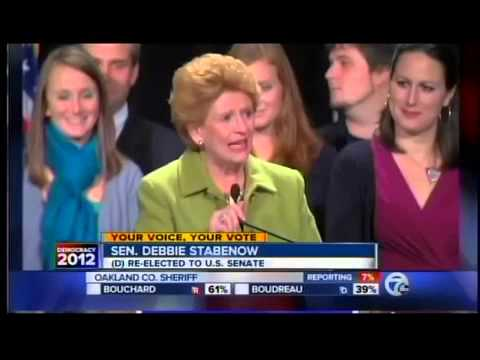 Senator Debbie Stabenow gives acceptance speech
