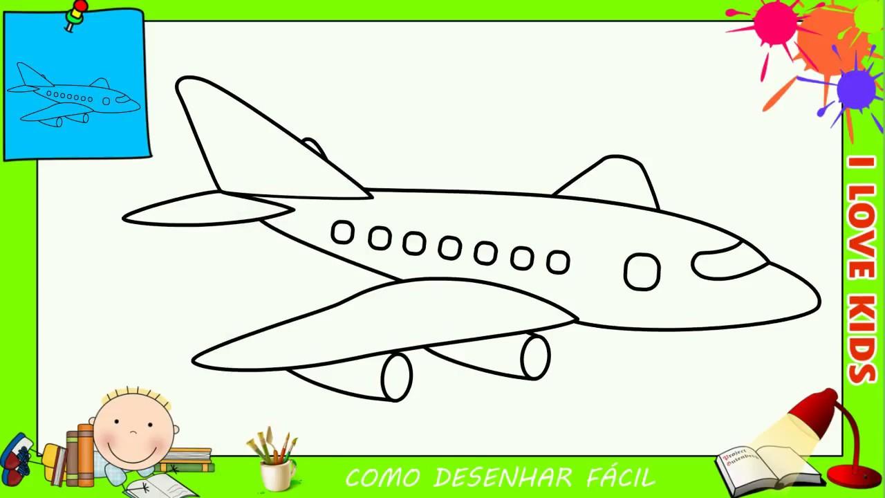 Como Desenhar Um Aviao Facil Passo A Passo Para Criancas E
