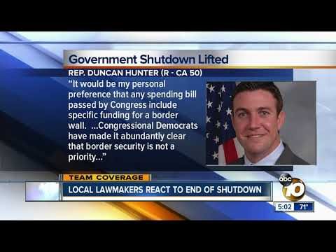 San Diego lawmakers react to end of shutdown