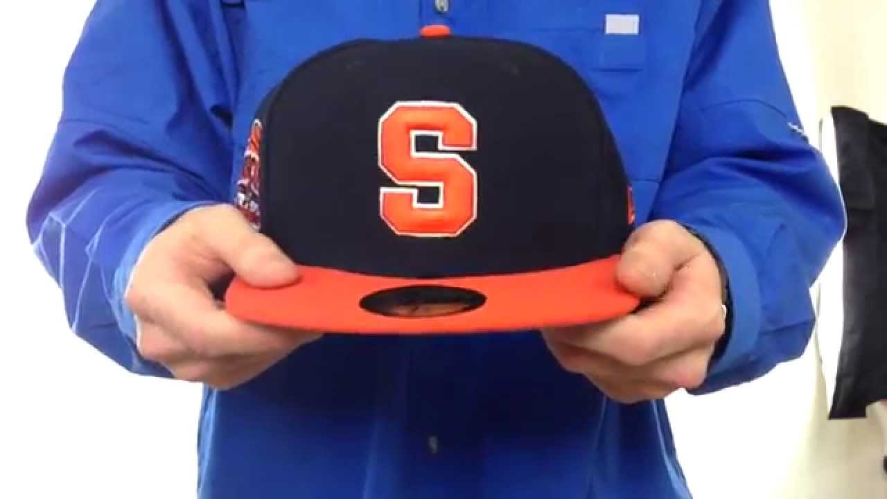 245121fc025 Syracuse  SIDE BASKETBALL-PATCH  Navy-Orange Fitted Hat by New Era ...