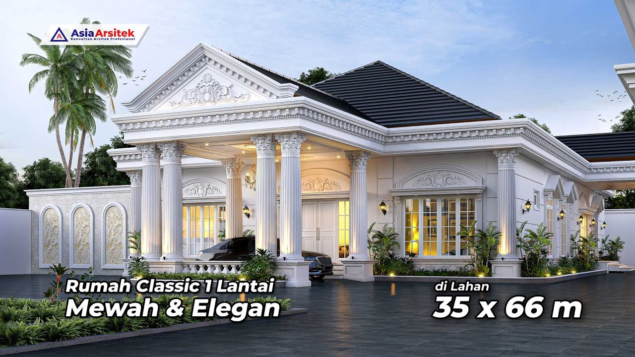 Jasa Arsitek Sumatera Selatan Desain Rumah Klasik 1 Lantai Gambar rumah klasik 1 lantai