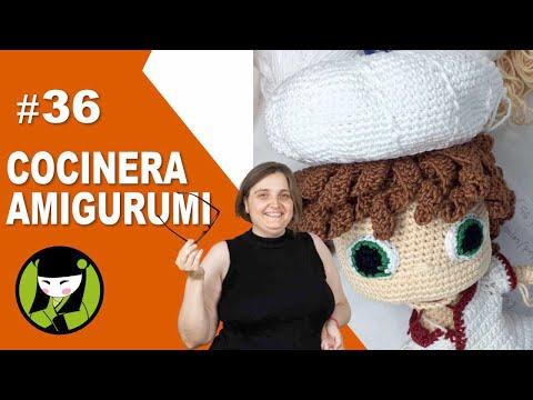 COCINERA AMIGURUMI 36 gorro de cocinera tejido a crochet