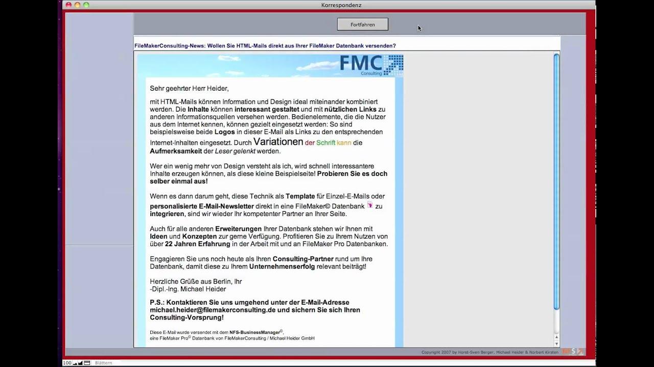 HTML-E-Mails aus einer FileMaker Pro Datenbank senden - Einzelmail