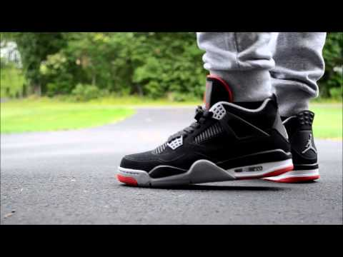 9e4f058007f804 2012 AIR JORDAN RETRO 4 BRED ON FEET - YouTube