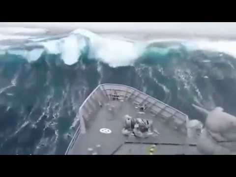 New Zealand naval ship smashed by monster waves in Southern