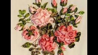 Шикарная роза Элен Эриксон.Вышивка лентами видео уроки.