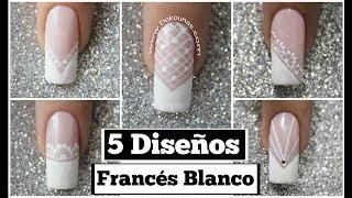5 Diseños de uñas FACIL con francés blanco - 5 easy French nail art thumbnail