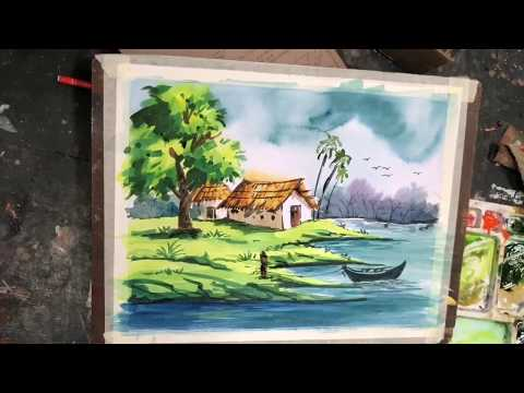Very easy landscape watercolour demonstration