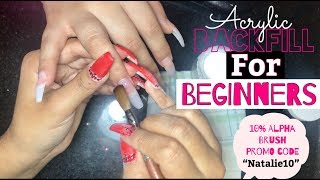 Acrylic Backfill For Beginners | Step-by-Step Acrylic Nails | Acrylic Coffin Nails