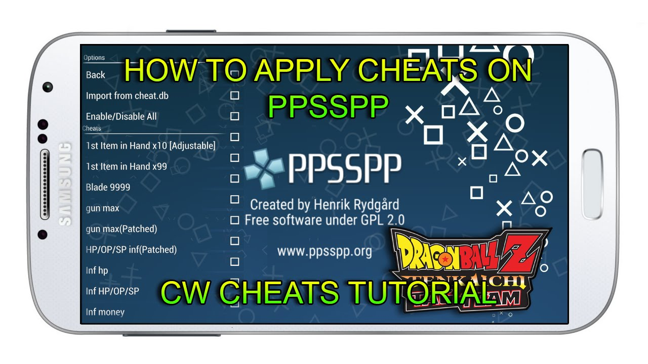 How to apply <b>CHEATS</b> on <b>PPSSPP</b> (CwCheats) - App Android &amp; IOS ...