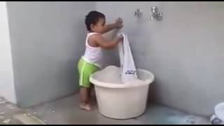 Copy of New Baby Funny Videos 2016   Indian Baby Washing Clothes (mUST See)