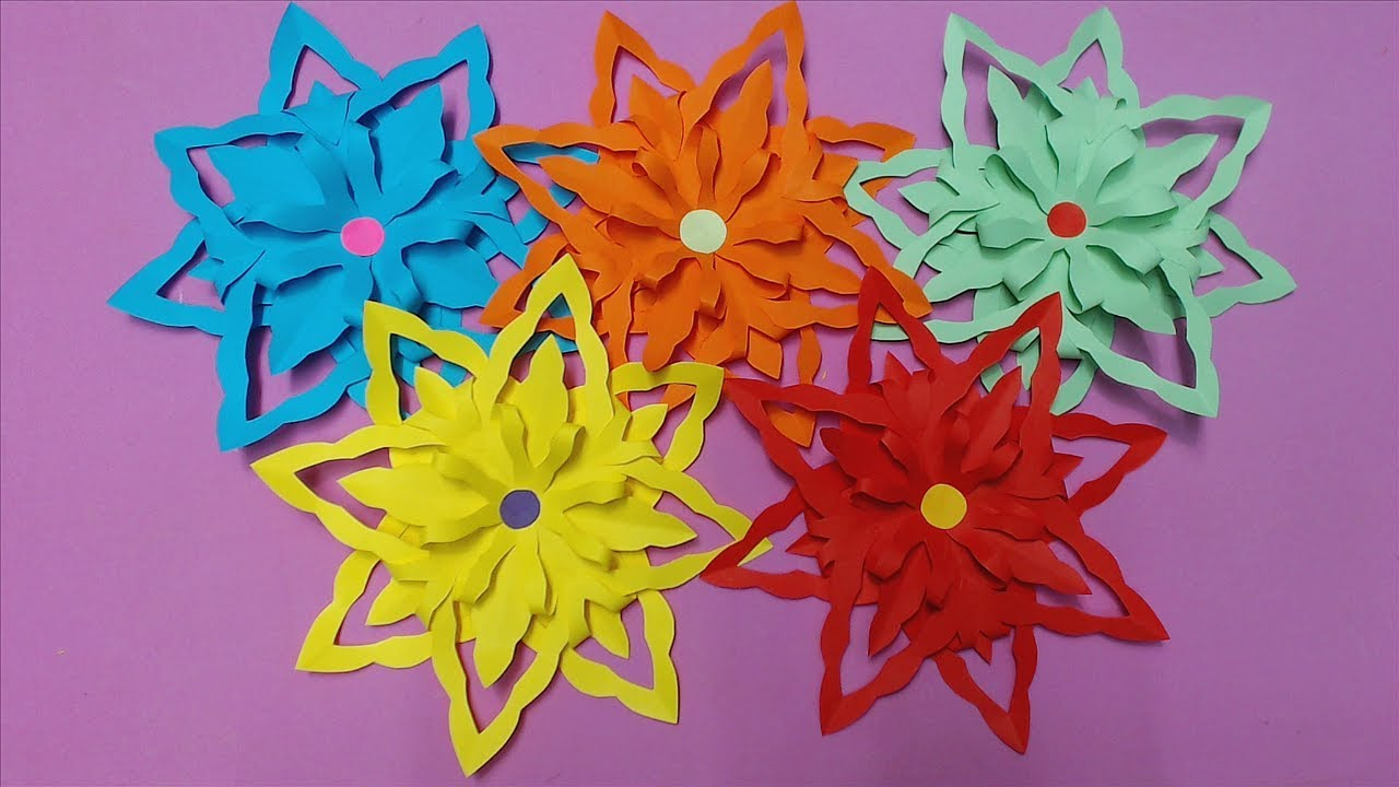 How To Make Awesome Flower With Color Paper Diy Paper Flowers