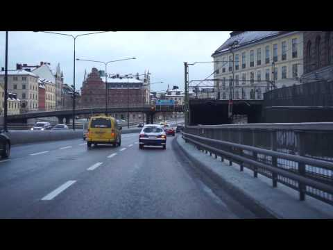 Sweden, Stockholm, driving from Sveavägen to Mc Donalds @ Huddingevägen