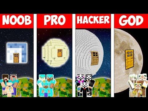 Minecraft - NOOB vs PRO vs HACKER vs GOD : FAMILY MOON BASE in Minecraft - Animation