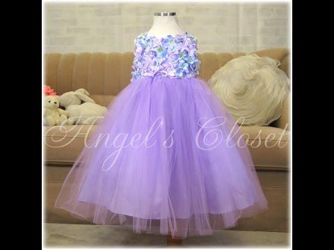 子供ドレス フラワーモチーフチュールリボンドレス(CCD741)