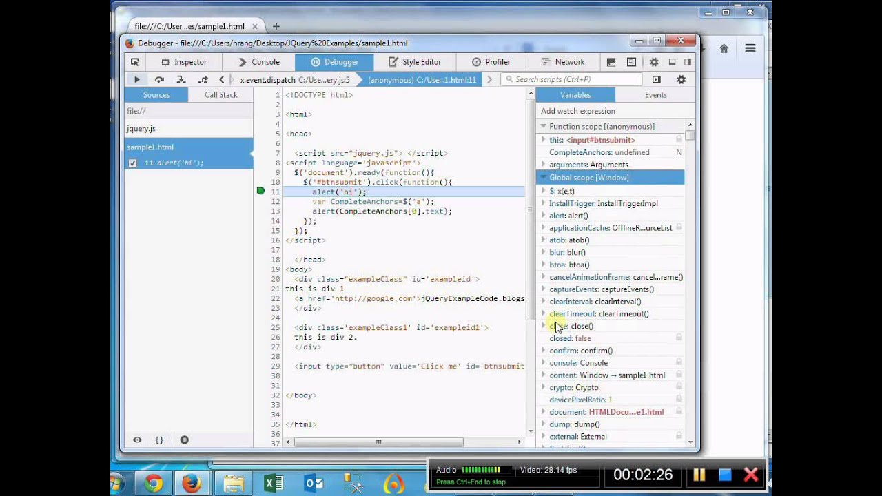 How to debug JQuery Code in the Mozilla Firefox Browser with out firebug