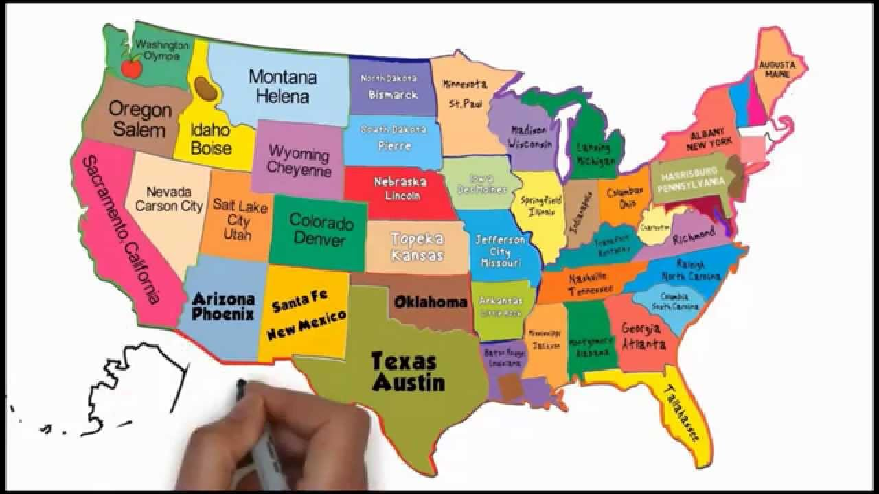 The States And Capitals Song Silly School Songs YouTube - Map of united states with capitals and major cities