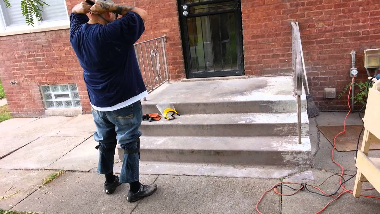 Taking Paint Off Concrete Steps Youtube