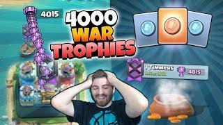 WE GOT 4000 LEGENDARY WAR TROPHIES! BEST WAR BOUNTY TOKEN OPENING! | Clash Royale HIGH TROPHY WARS!