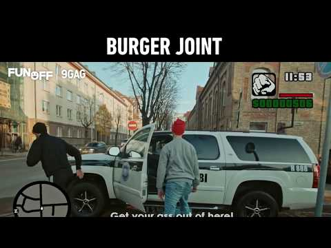 Real Life GTA Mission 2: Burger Joint by Red Light Barbers Vilnius   9GAGFunOff