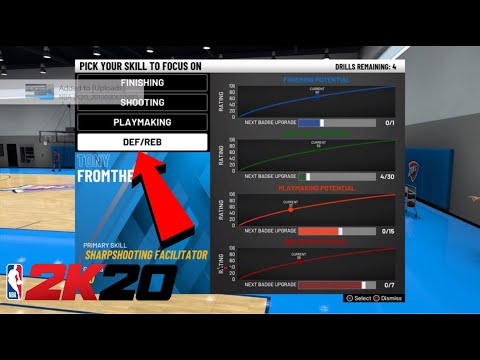NBA 2K20 HOW TO CHOOSE WHAT BADGES TO WORK FOR IN PRACTICE FACILITY HOW TO GET BADGES FAST NBA 2K20