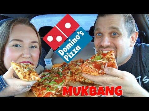 DOMINO'S MUKBANG | BBQ CHICKEN & DELUXE PIZZA, PASTA & CHEESY BREAD