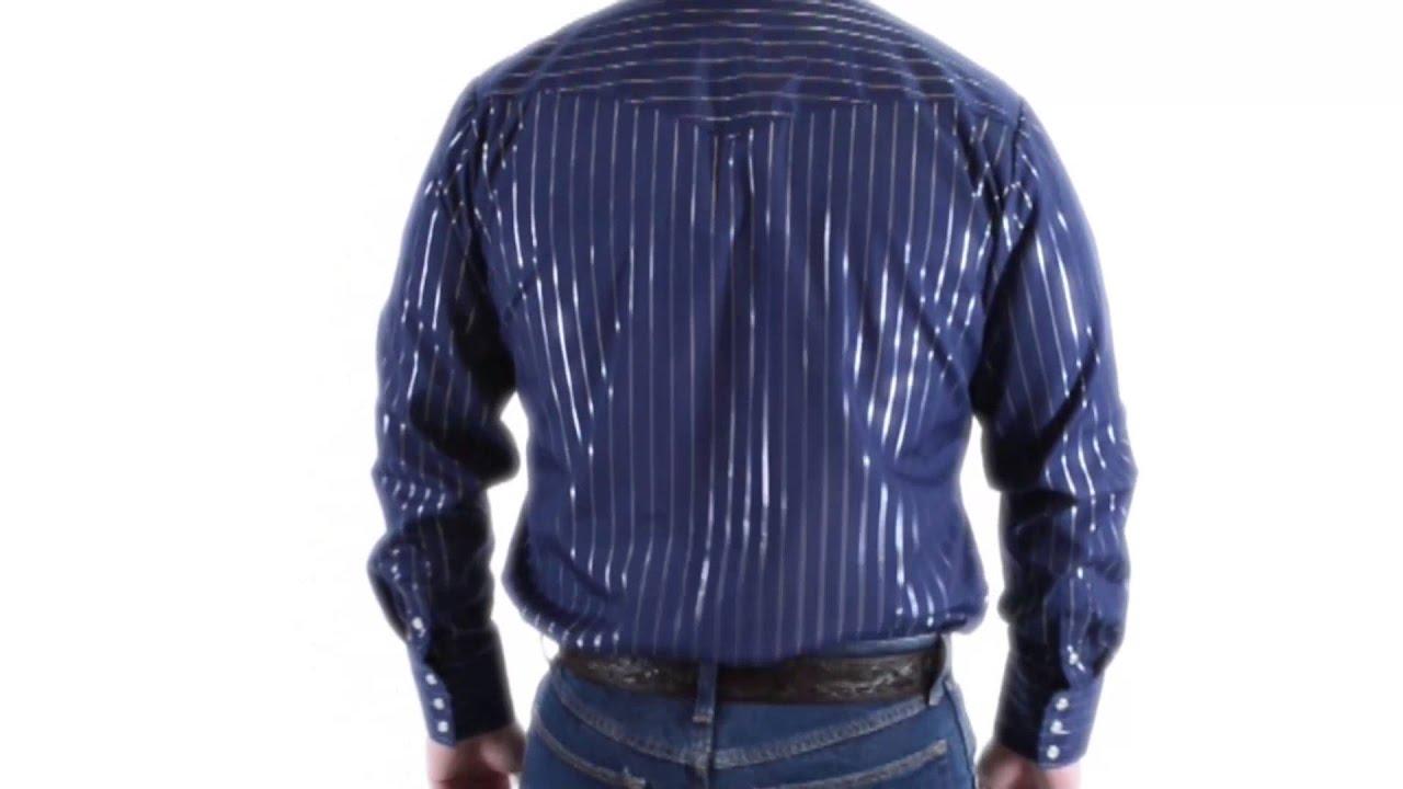 Roper Classic Metallic Stripe Western Shirt Snap Front Long