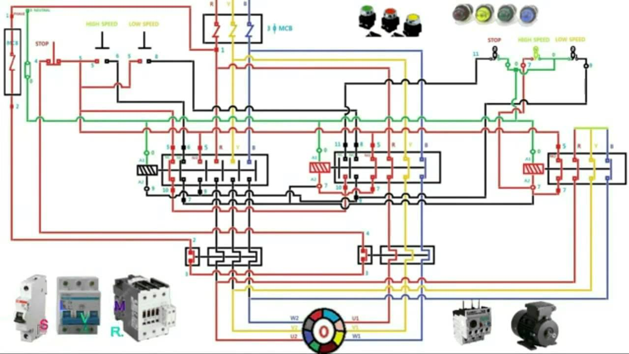two speed motor starter connection and operation youtubeStar Delta Starter Circuit Diagram Also Dol Starter Wiring Diagram On #16