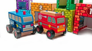 Learn Kids Colors with Emergency Cars Trucks Melissa & Doug Wood Stacking Toy Play Set