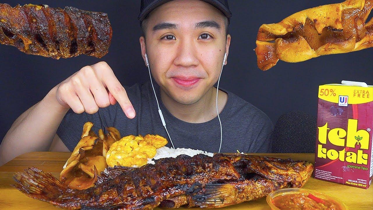 ASMR WHOLE FRIED FISH & GRILLED SQUID MUKBANG | INDONESIAN FOOD EATING SOUNDS | BUN ASMR