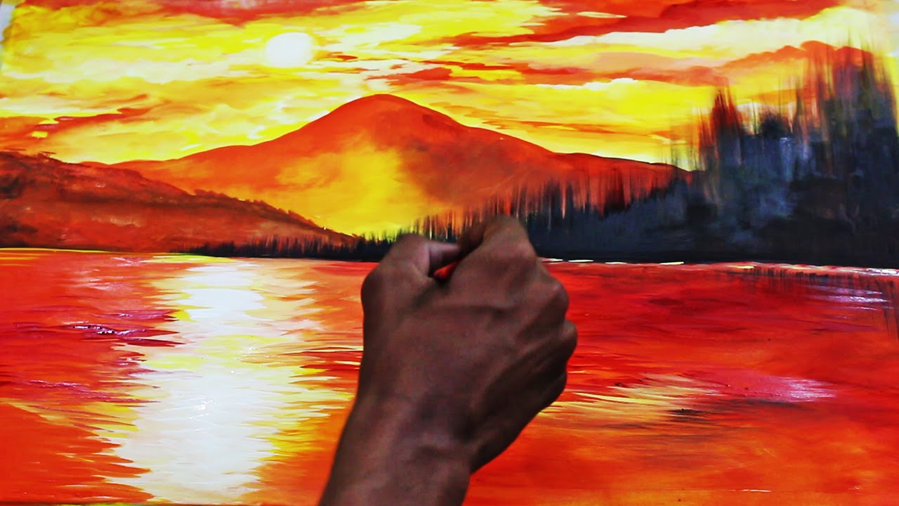 Sunset Landscape Watercolor Painting Time Lapse Video