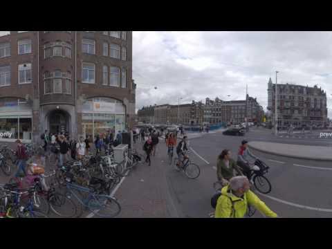 360 VR Cityscape with Muntplein square and Munttoren, Amsterdam