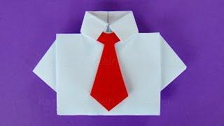 Origami Hemd mit Krawatte: Basteln mit Papier - DIY Geschenkideen - Basteln Ideen