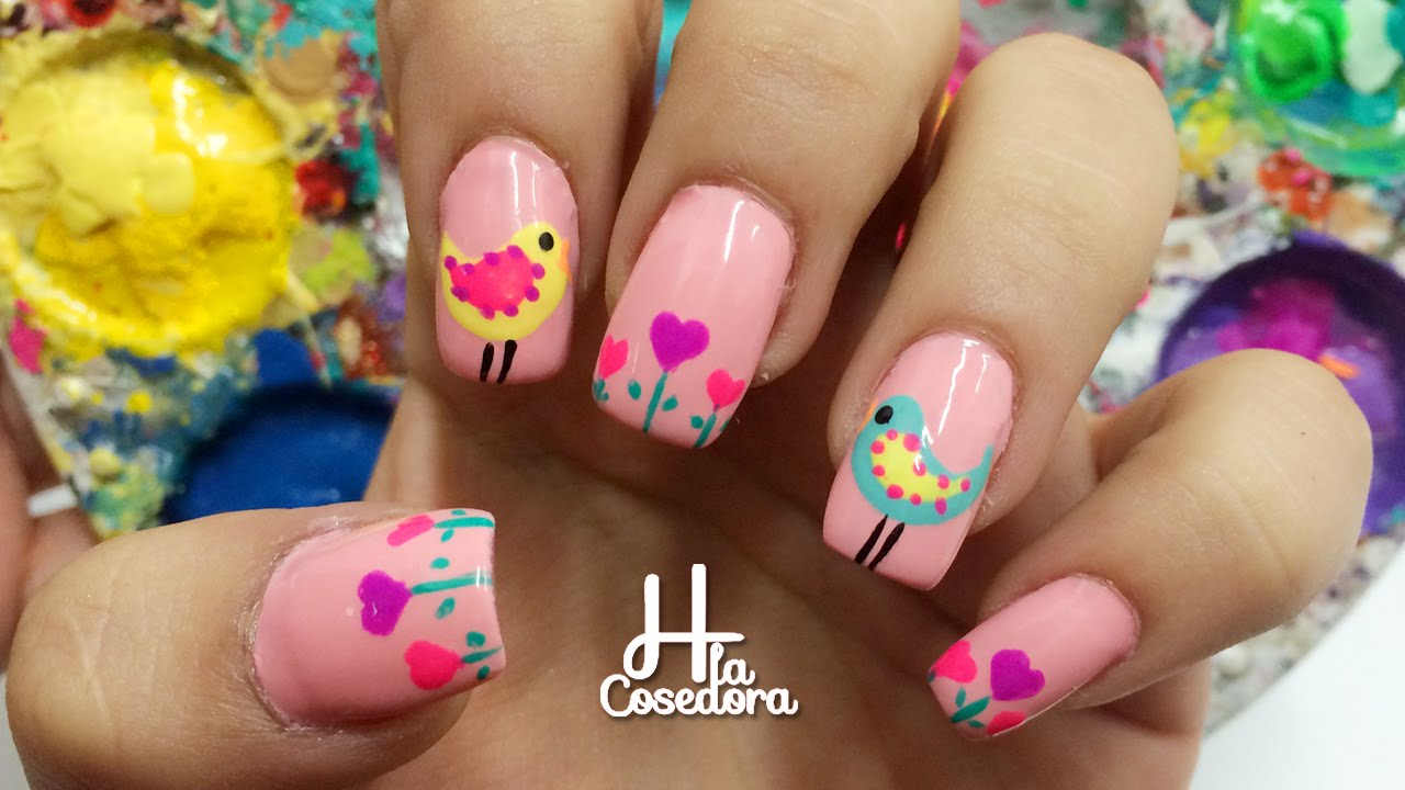 decoracion de uas aves y corazones bird and heart nail art youtube