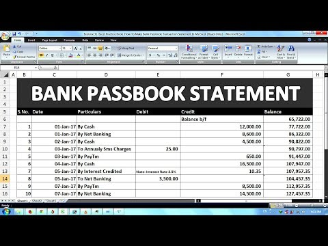 Exercise 31 | Excel Practice Book | How To Make Bank Passbook Transaction Statement In Ms Excel